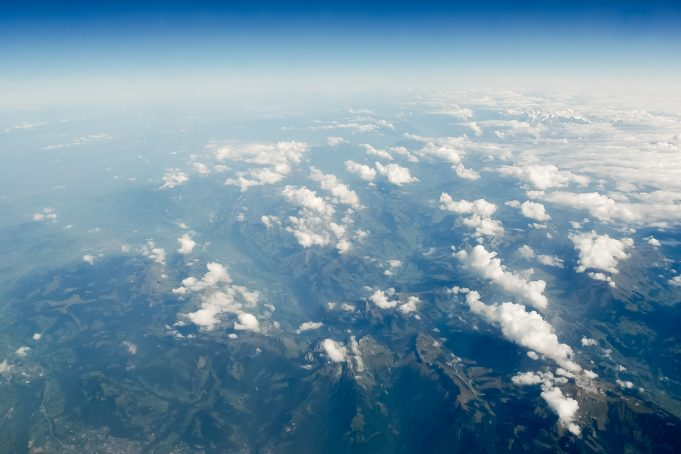 Panoramic Aerial View of The Alps and Clouds