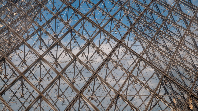 Paris Louvre pyramid close-up background