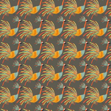 Rainbow Colored Crane Bird Pattern