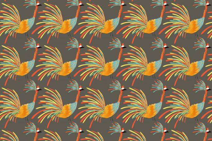 Rainbow Colored Crane Bird Pattern