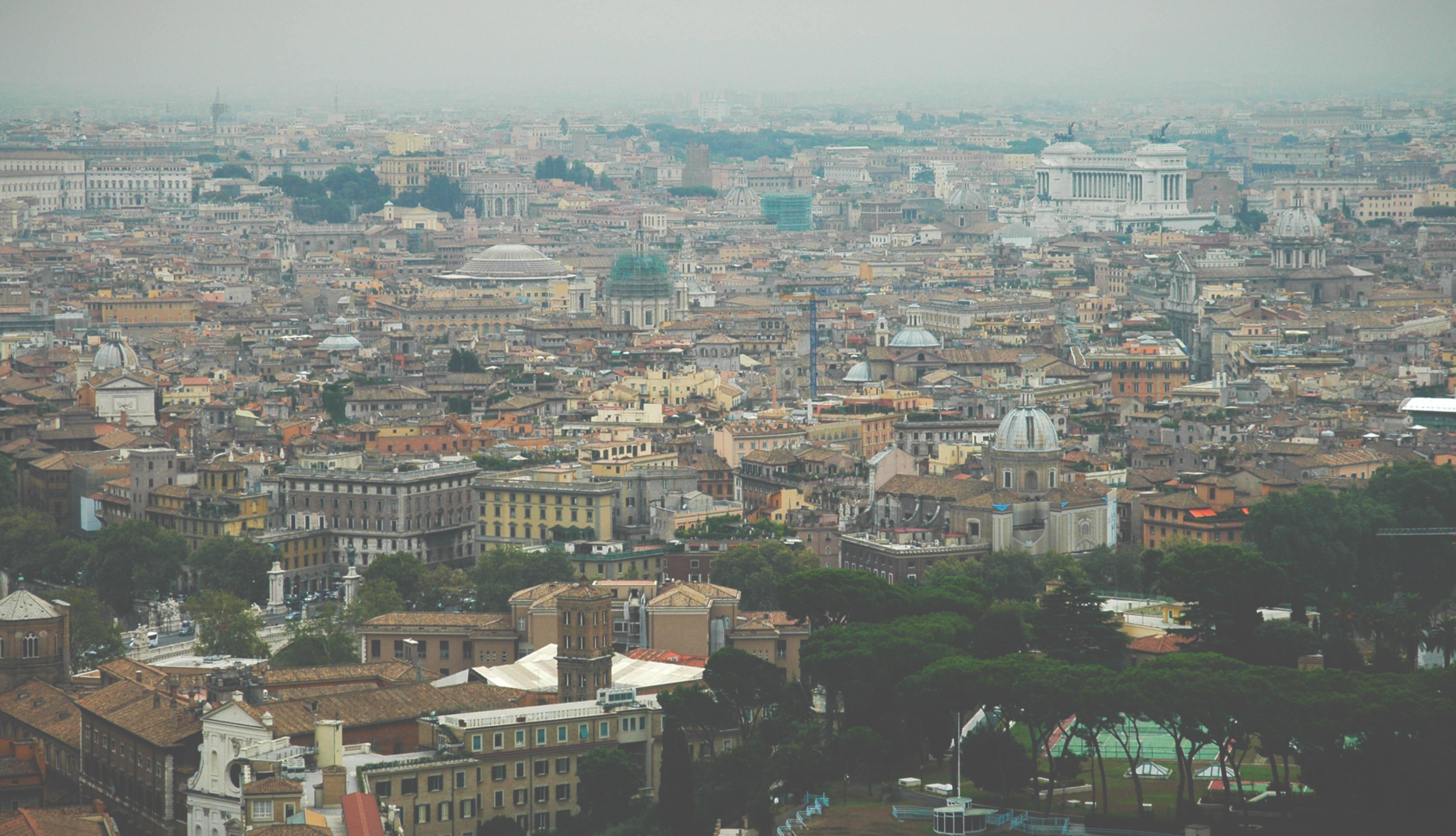 Rome Foggy Skyline Rooftops