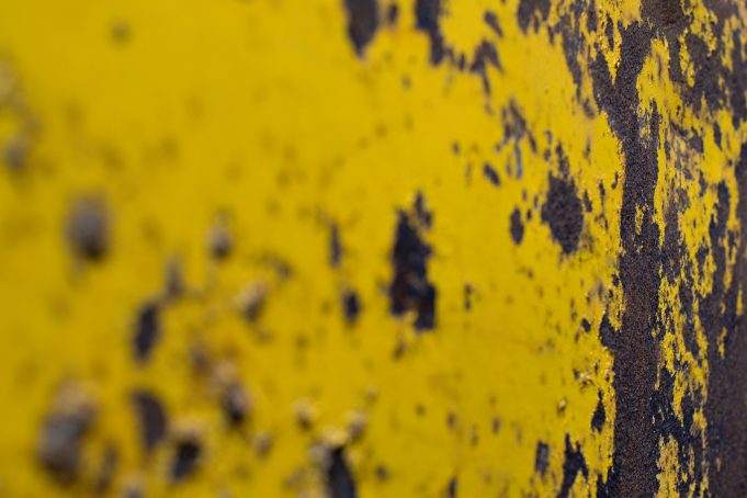 Yellow rusty metal texture photo