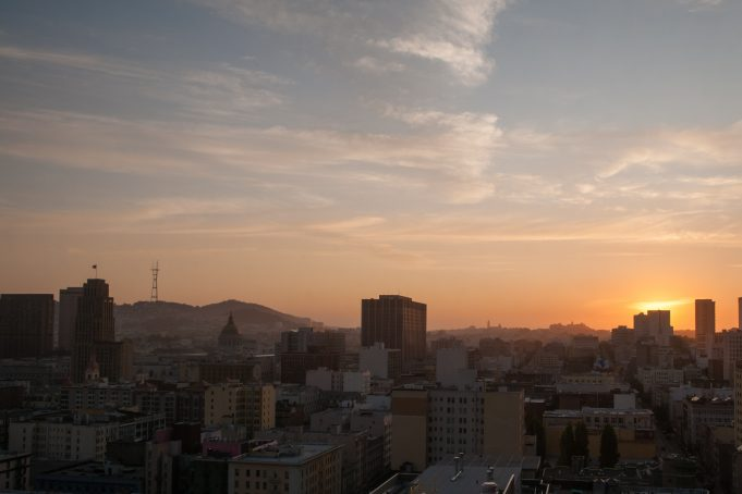 San Francisco skyline sunset