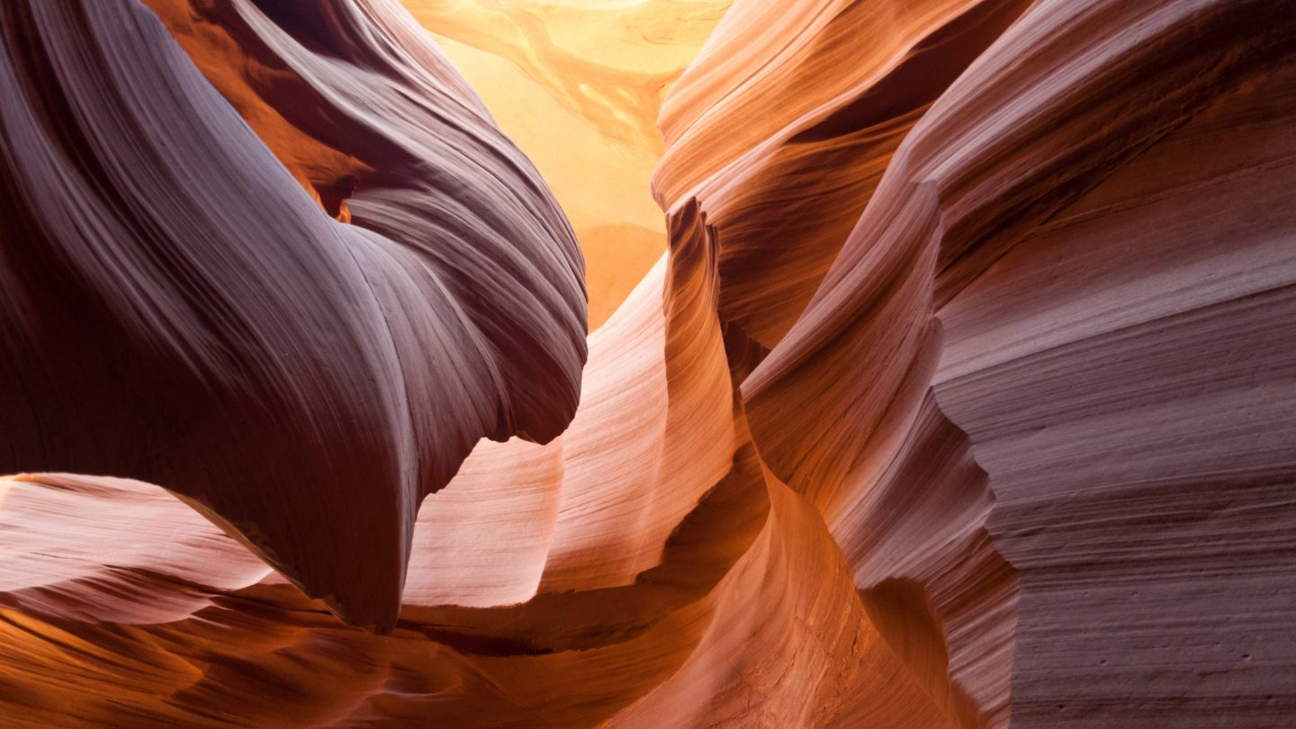 Shapes carved by millennia of erosion in lower Antelope Canyon near Page Arizona