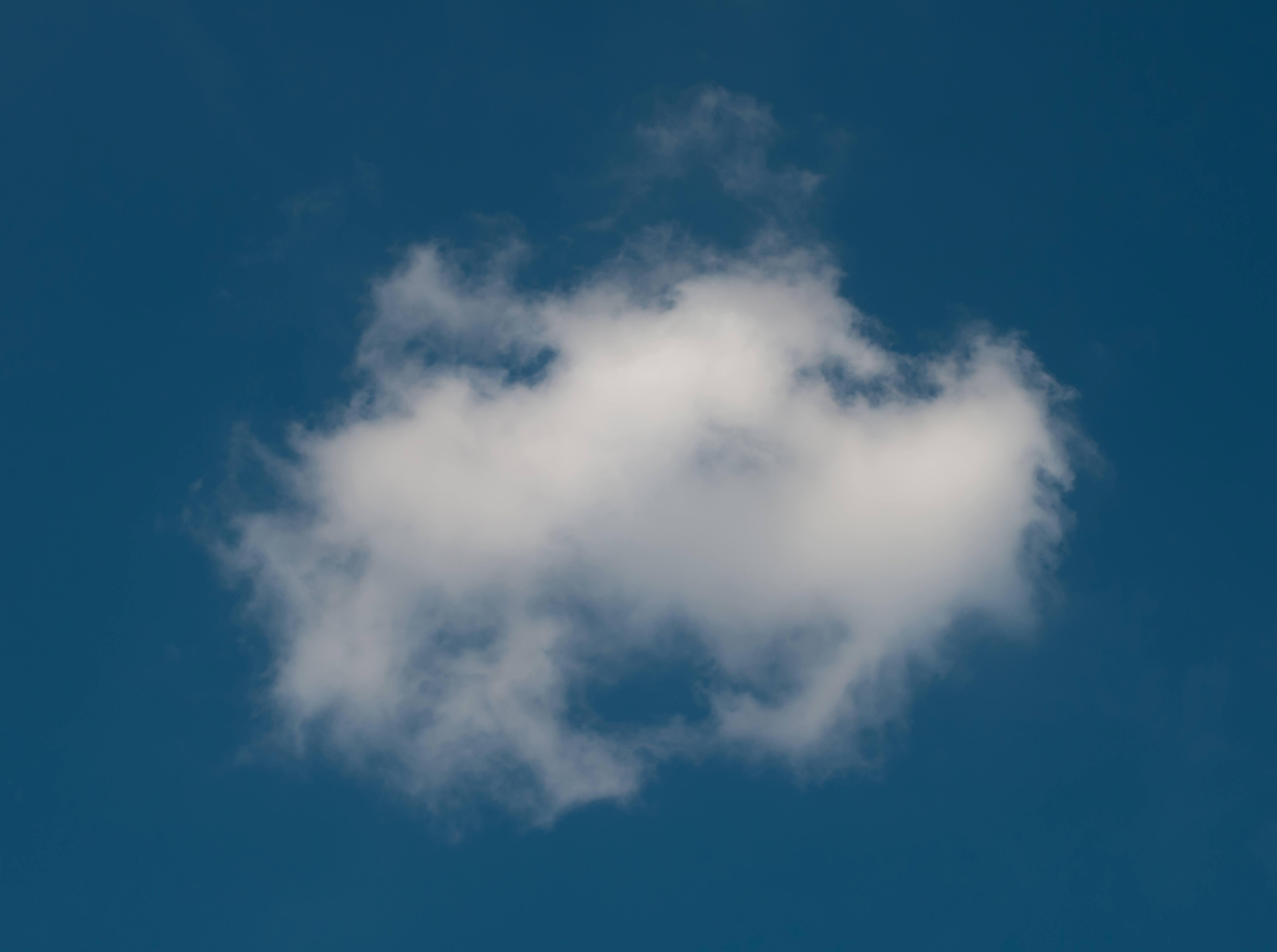Single White Cloud on Blue Sky