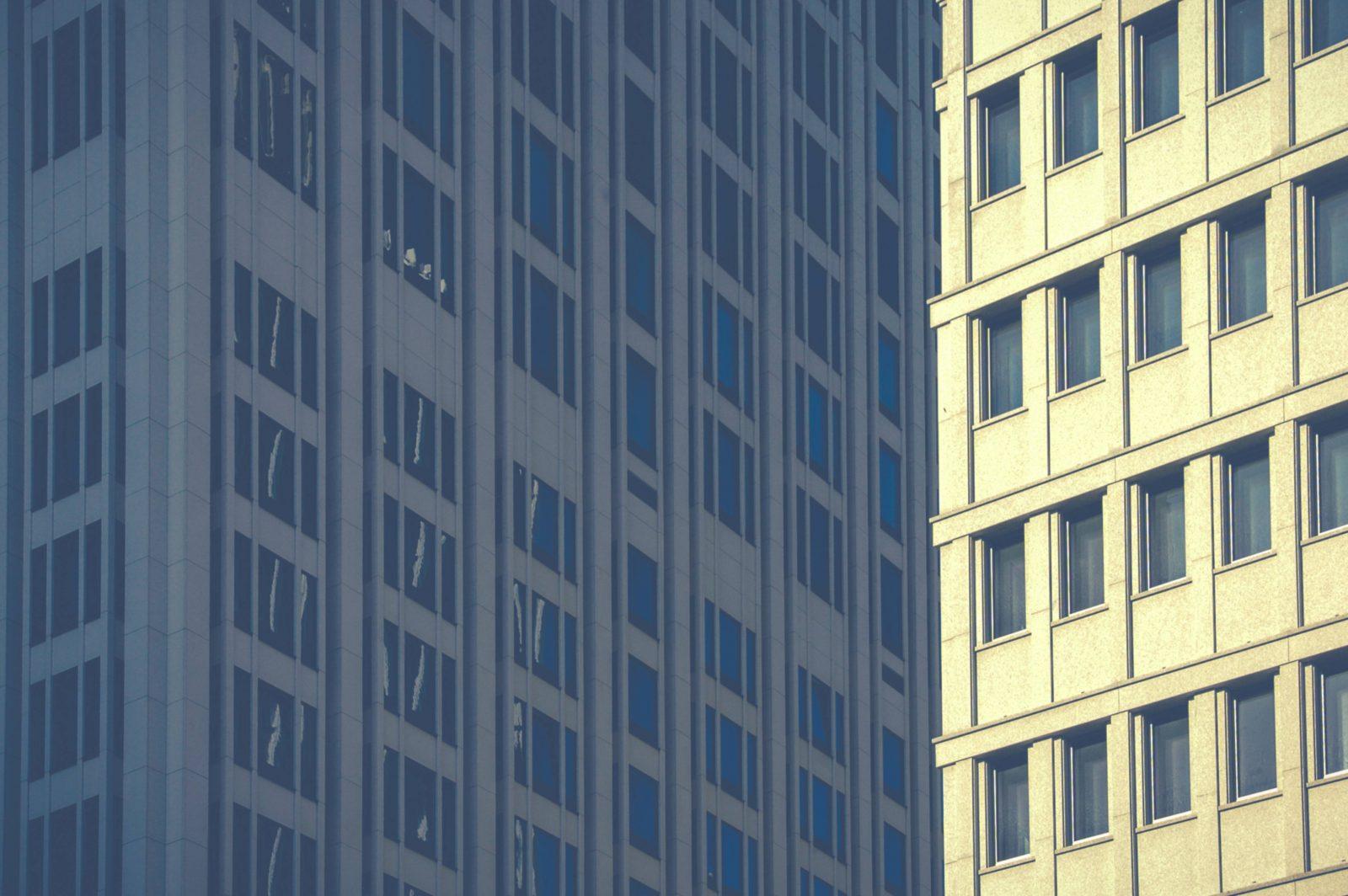 Skyscrapers full frame blue windows