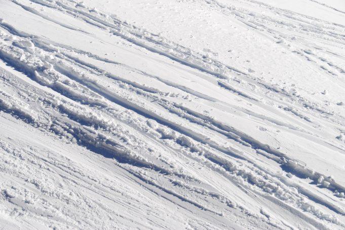 Snow ski tracks pattern