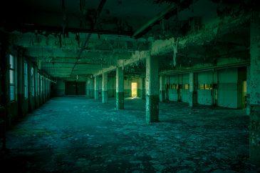 Sun light abandoned factory floor
