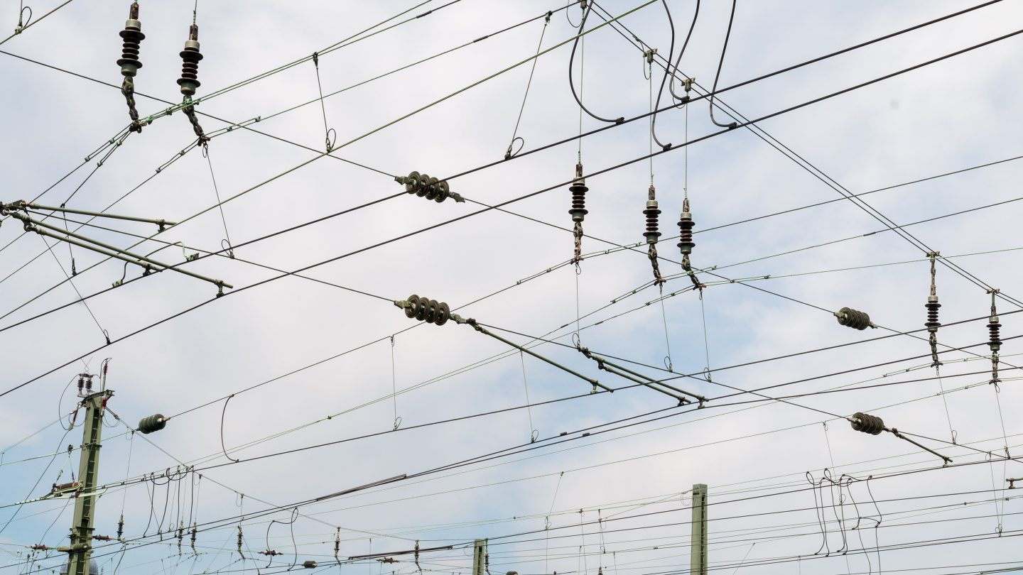 Train electrical wires overhead railway texture