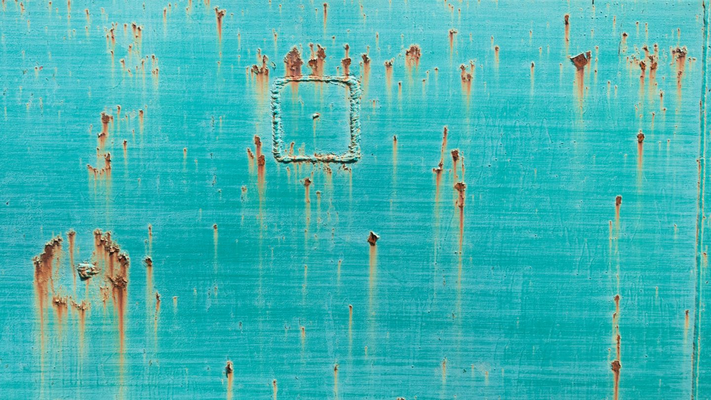 Turquoise metal damaged rusty washed plate