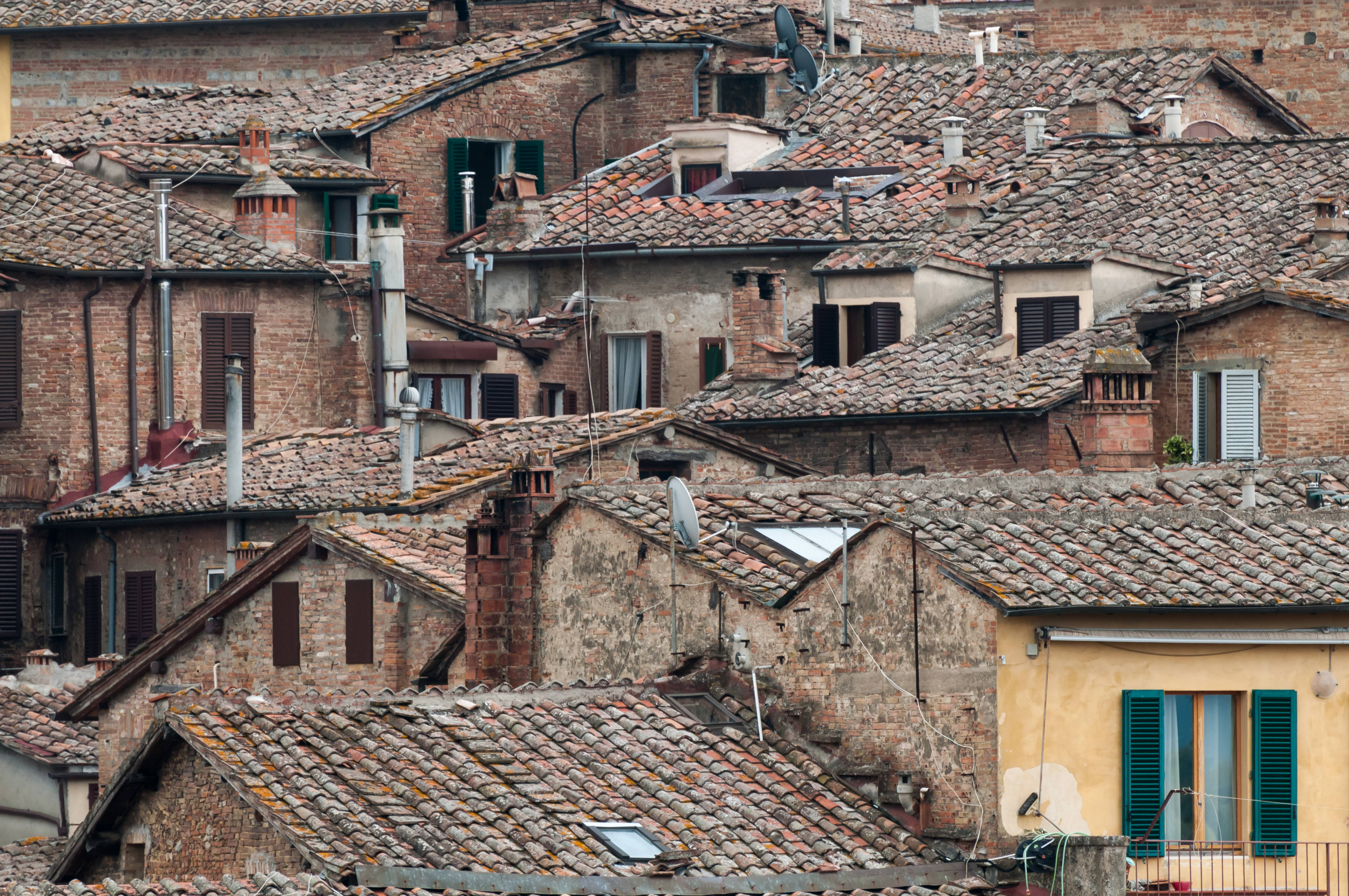 Typical Italian roofs pattern. Siena Italy.