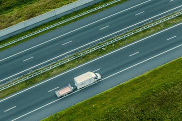 Van and trailer seen from above