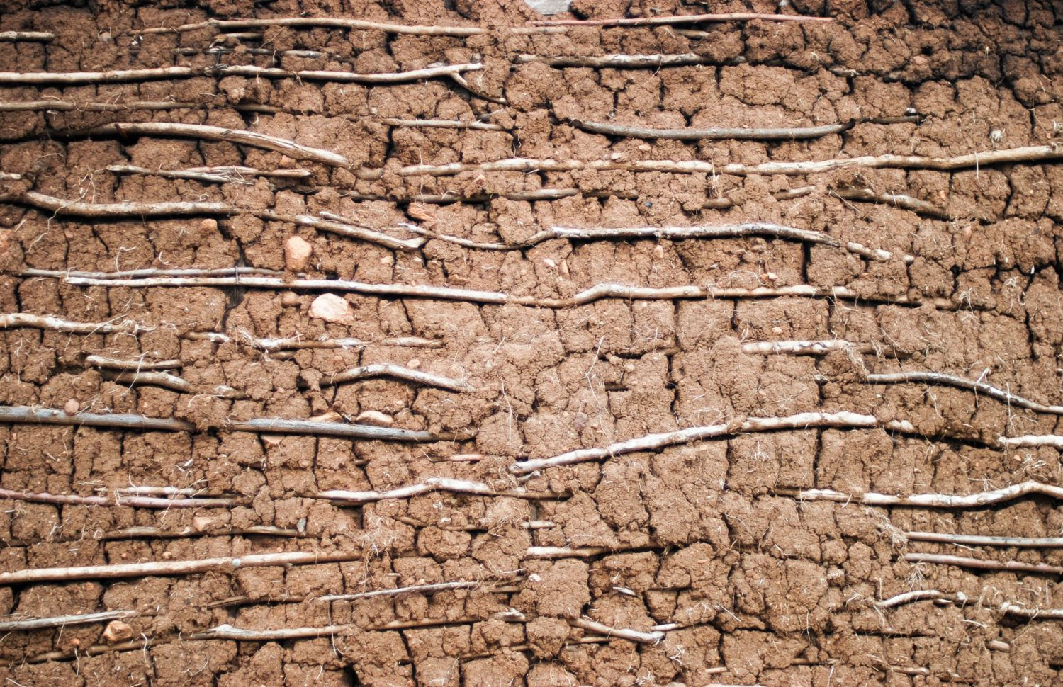Wall of Dirt and Mud. African house wall structure