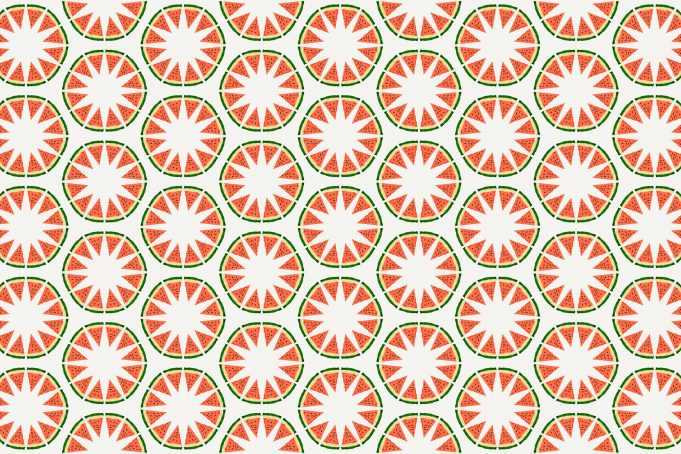 Watermelon Circle Star Pattern