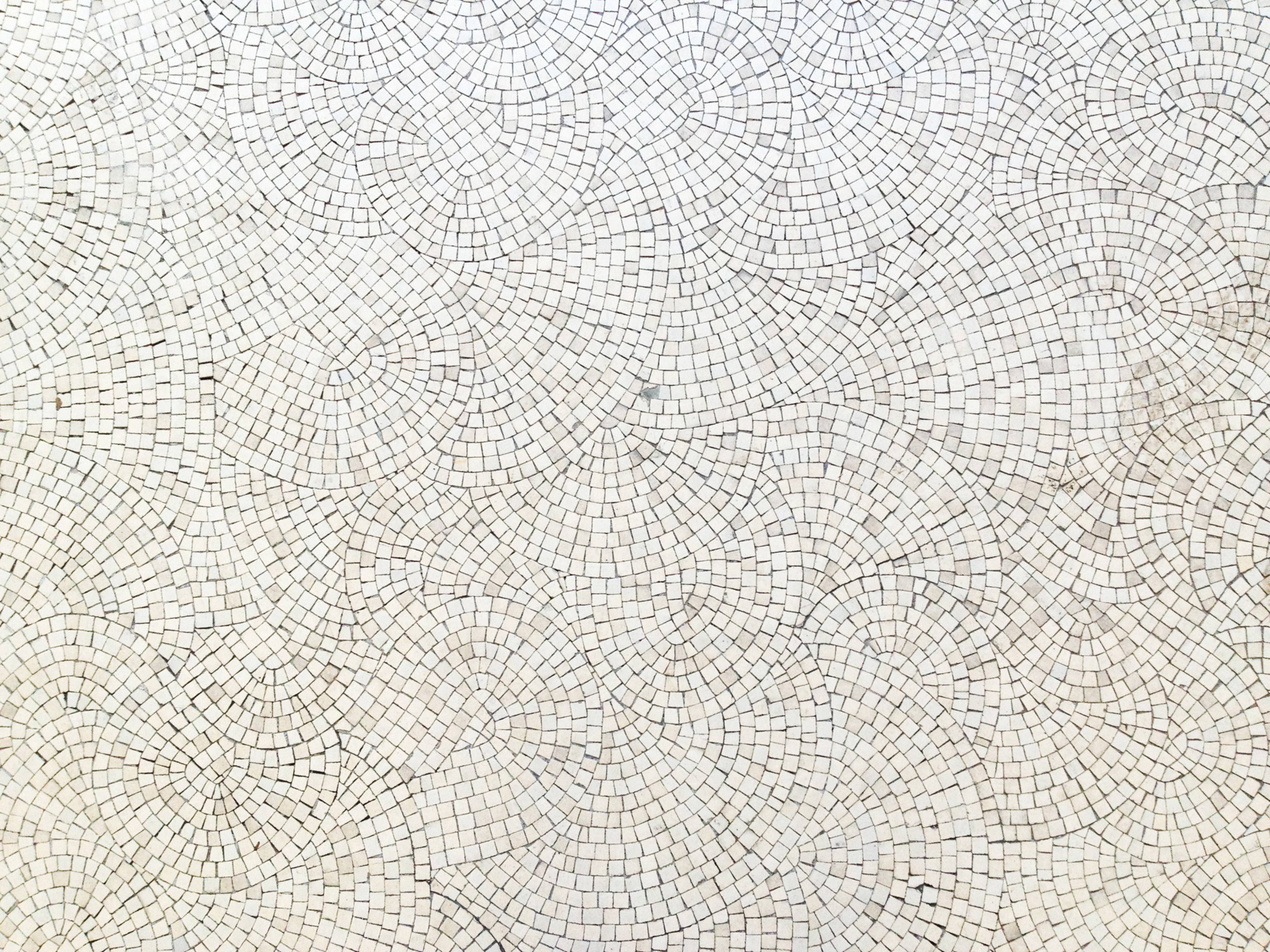 White mosaic floor wave pattern