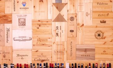 Wine boxes wall pattern Tuscany