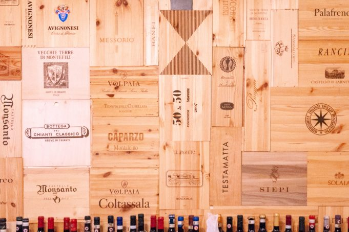 Wine boxes wall pattern Tuscany