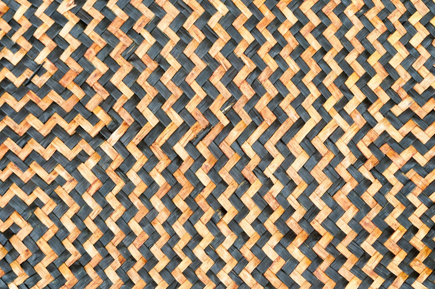 Woven Straw Texture black and natural zig zag pattern