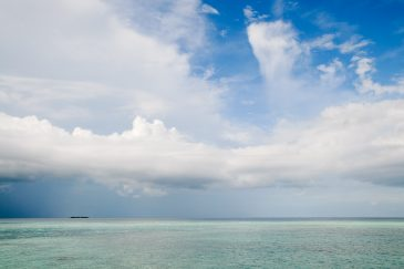 clouds and tropical island