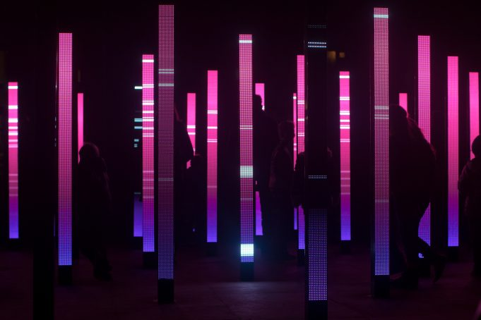 Light art pillars at Glow event 2011. Eindhoven The Netherlands
