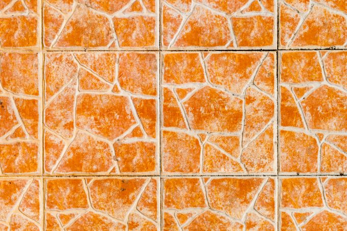 Orange cracked pattern tiles
