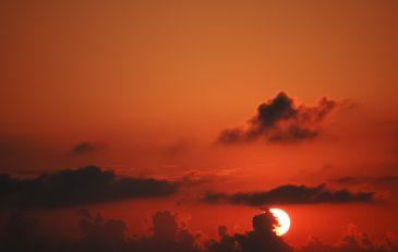 Red warm sunset sky