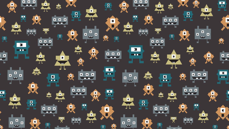 Retro square robots seamless pattern