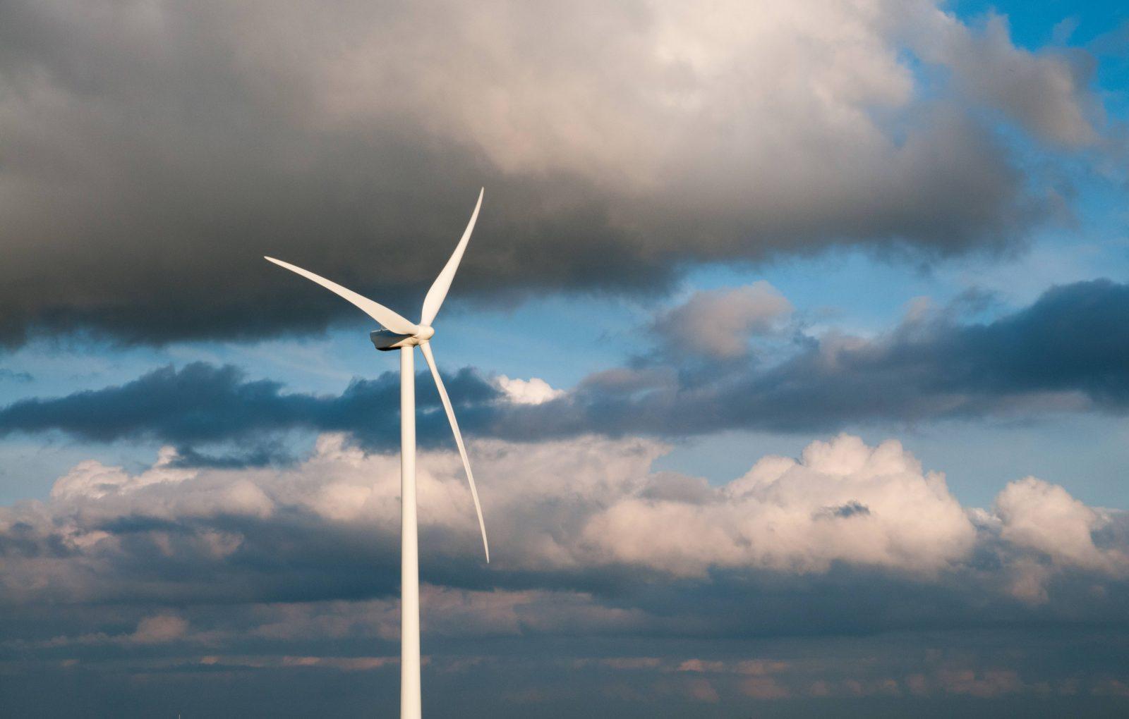 Wind turbine cloudy sky